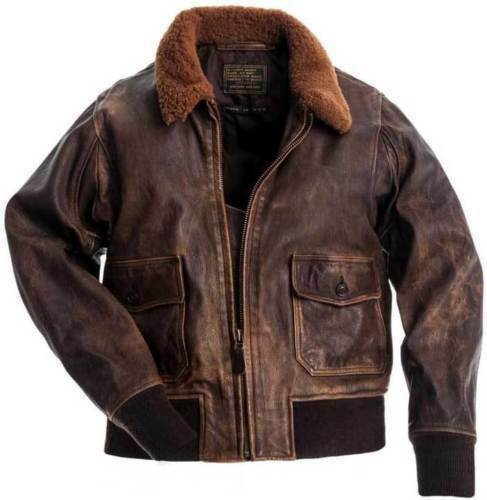 Men Aviator G-1 Distressed Brown Lambskin Leather Bomber Jacket With REAL FUR