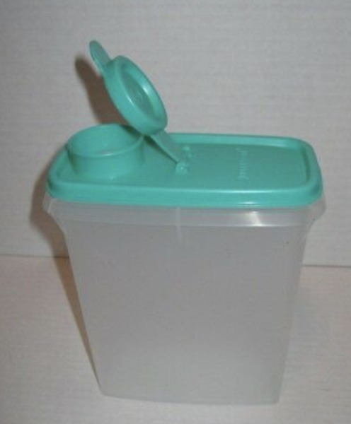 Tupperware Cereal Storer 3½-cup  850mL Clear Container Teal Green Pour Seal New