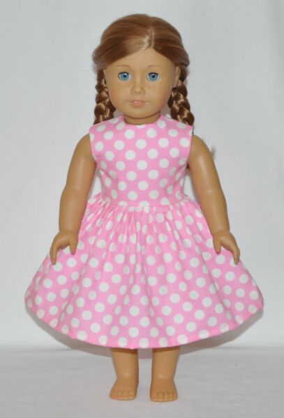 Light Pink White Polka Dot Doll Dress Clothes Fits American Girl Dolls