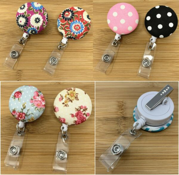 Nurse Retractable ID Name Badge Reel Holder with Swivel Clip Fabric Leather $5.49