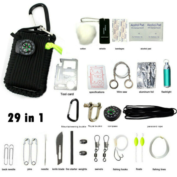 29 in 1 Emergency Camping Survival Kit Outdoor Tactical 550 EDC Gear Tool Bags