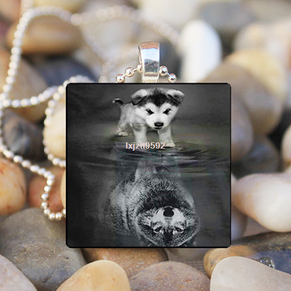 VINTAGE Dog to Wolf Animal Cabochon Glass Tile Chain Silver Pendant Necklace $1.89