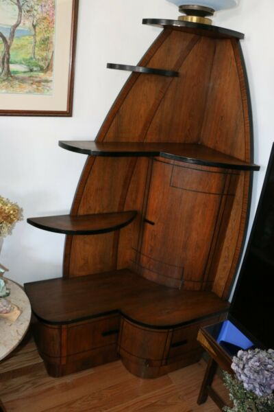 Original Vintage Art Deco Corner Hutch made in Brooklyn NY from the 1930s