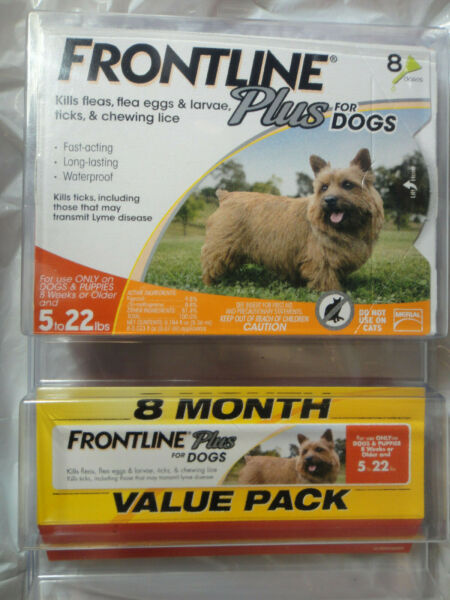 FRONTLINE PLUS DOGS 5-22Lbs FLEA & TICK CONTROL 8 DOSES NEW SEALED