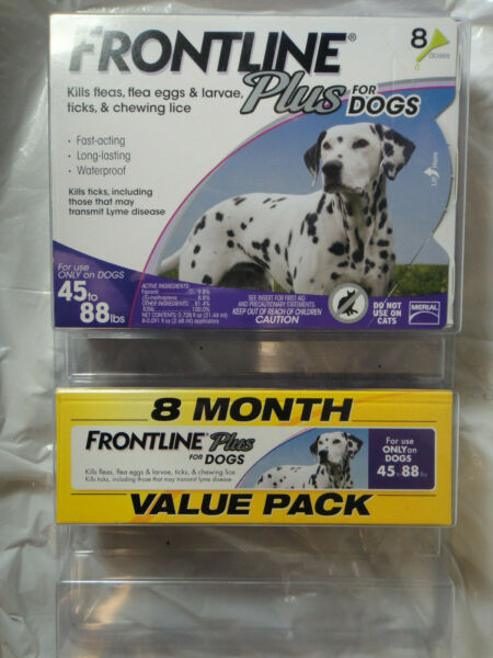 FRONTLINE PLUS DOGS 45-88Lbs FLEA & TICK CONTROL 8 DOSES NEW SEALED
