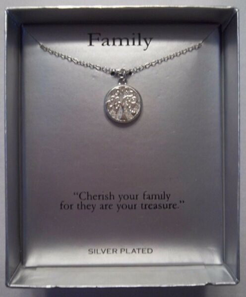 Family Tree Necklace Silver Plated Cubic Zirconia Engraved NEWw Box Great gift