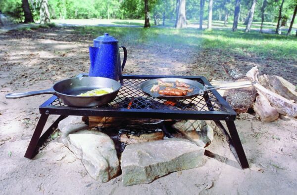 Camp Fire Griddle Grill Over Fire Grate Wood Camping Smoker Smoking Meat Hunting