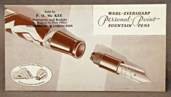 WAHL EVERSHARP FOUNTAIN PENS advertising ink blotter SNOHOMISH WASH unused *