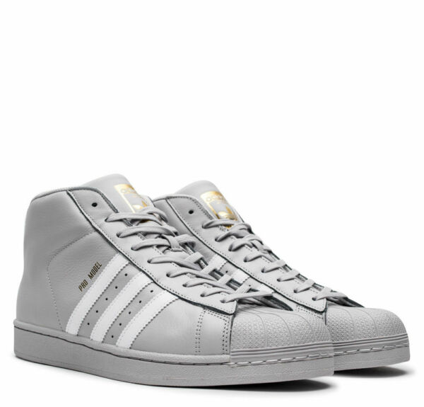 Adidas Originals Pro Model Mens Shoes Gray White Gold Leather CG5073 SHELL TOE