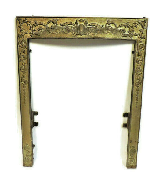 ANTIQUE CAST IRON FIREPLACE INSERT COVER FRAME SURROUND ORNATE VICTORIAN FLORAL