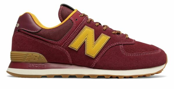 New Balance Men's 574 Shoes Classics Traditionnels Red with Yellow ML574OTC