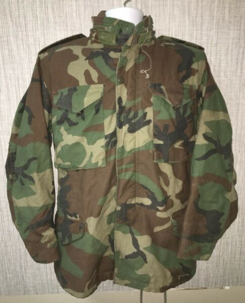 Vtg Mens US Military 80's Camoflauge Cold Weather Field Coat Size S