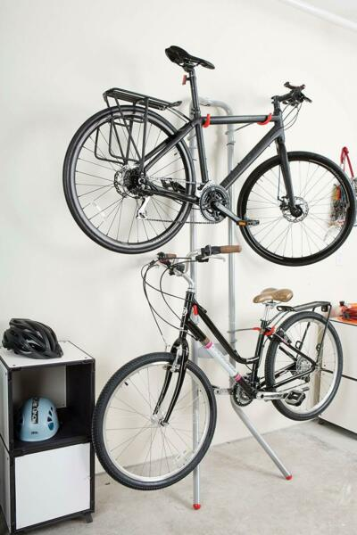 Bike Wall Rack Garage or Indoor Stand Holds 2 Bikes Bicycle Storage Aluminum 83quot; $98.97