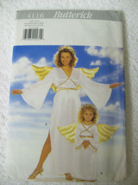 BUTTERICK SEWING PATTERN 4116 CHILDS MISSES ANGEL COSTUMES ALL SIZES NEW UNCUT $6.95