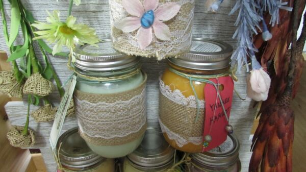 Burlap paper wrapped 16 oz Ball Scented Candle jar Handmade Poured S V