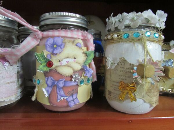 Burlap Paper Wrapped 16 oz Ball Mayo Scented Candle Jar Handmade Poured A B