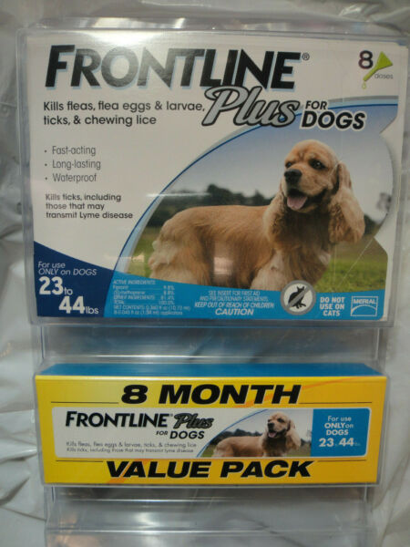 FRONTLINE PLUS DOGS 23-44Lbs FLEA & TICK CONTROL 8 DOSES NEW SEALED