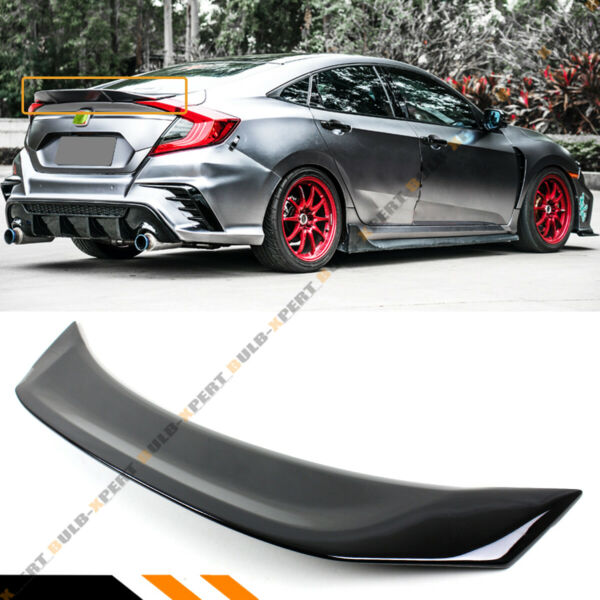 FOR 16-19 HONDA CIVIC SEDAN V3 GLOSSY BLACK HIGHKICK DUCKBILL TRUNK SPOILER WING