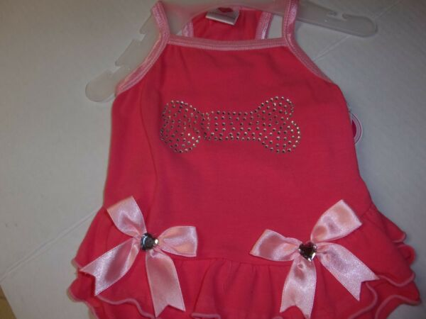 CORAL BONE BOW Dog Dress S Smoochie Pooch New pet Puppy petco clothing small