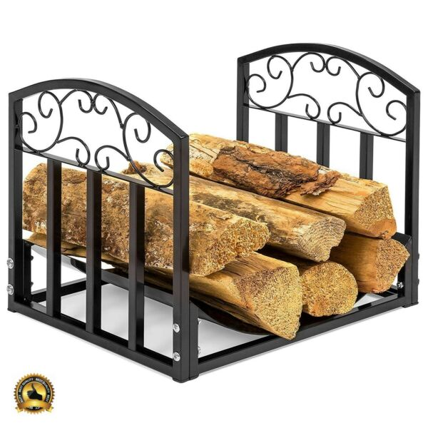 Firewood Rack Indoor Fireplace Wood Holder Small Log Grate Iron Storage Tray Set