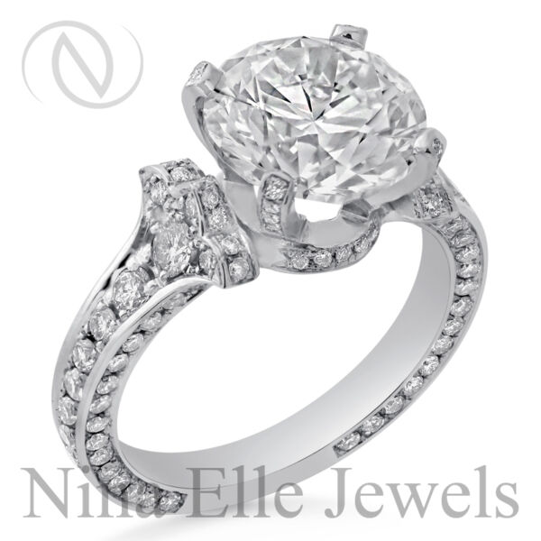 4.14ct Antique Vintage Style Round Cut Diamond Engagement Ring Three Sided R207