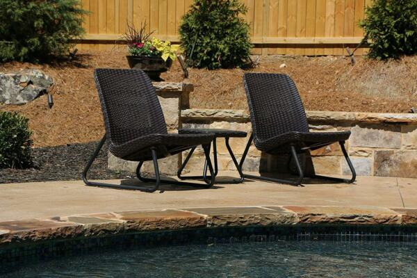 Patio Furniture Bistro Set Outdoor Table and Chairs All Weather Resin Wicker Set $185.97