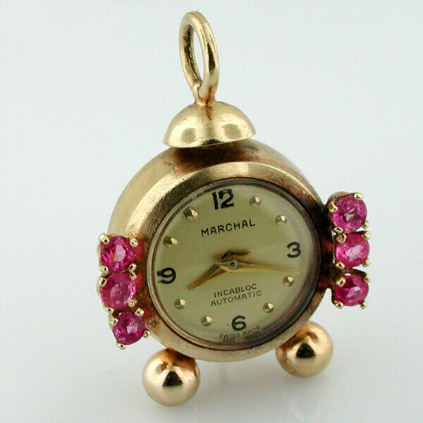 14K Gold Jeweled Marchal Automatic Swiss Watch Alarm Clock Vintage Charm Pendant $775.00