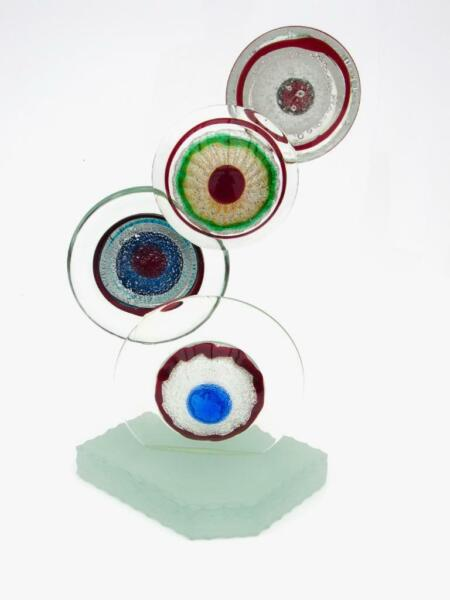 Signed Giant 8.1kg Murano Art Glass Abstract Eyes Sculpture Allessandro Barbaro