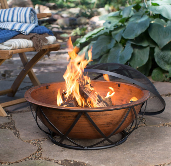 Wood Burning Fire Pit Bowl Rustic Round Steel Outdoor Patio Poker Grate Cover