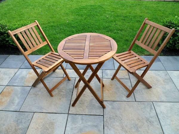 Garden Furniture Bistro Set Patio Table and Chairs Wooden Folding Portable Wood $215.97