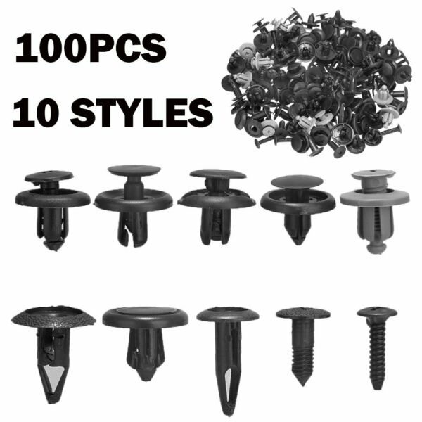 100x Trunk Screw Rivets Set Car Bumper Fender For Auto Plastic Fastener Clips