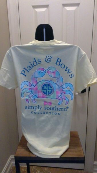 Simply Southern T-Shirt: Plaids and Bows (Crab) - Butter (soft yellow)