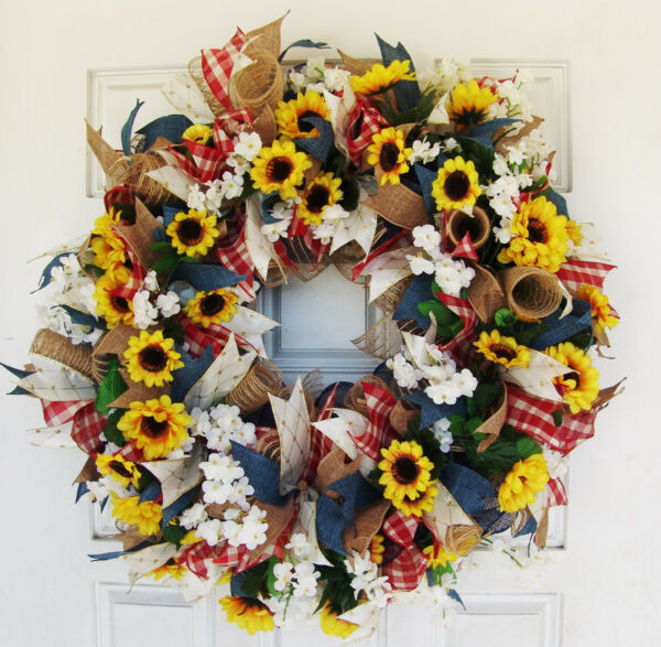 French Country Sunflower Wreath Deco Mesh Front Door Farmhouse Floral Porch
