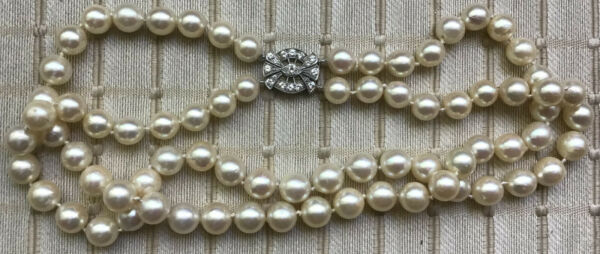 Vintage Antique Double Stand Pearl Necklace with Diamond Clasp $5000.00