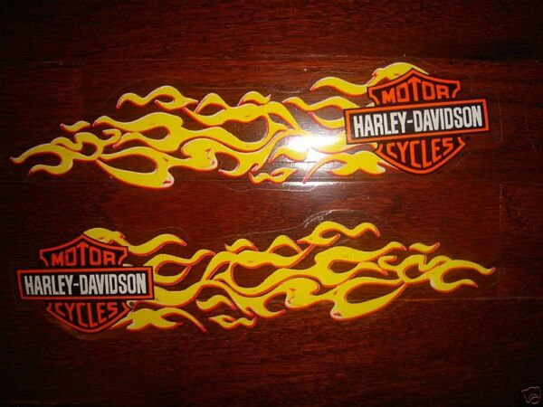 HARLEY DAVIDSON PAIR SMALL YELLOW FLAMES TANKHELMET  DECALS (OUTSIDE) NEW