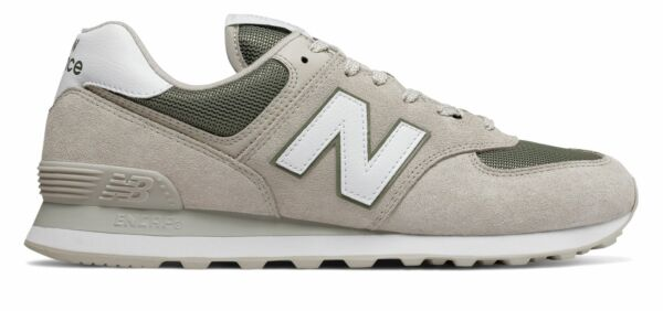 New Balance Men's 574 Shoes Grey With Green
