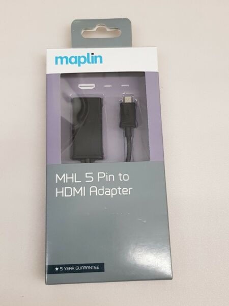 Maplin MHL 5 Pin Micro USB to HDMI Adaptor HDTV View Hd Videos From Mobile To Tv