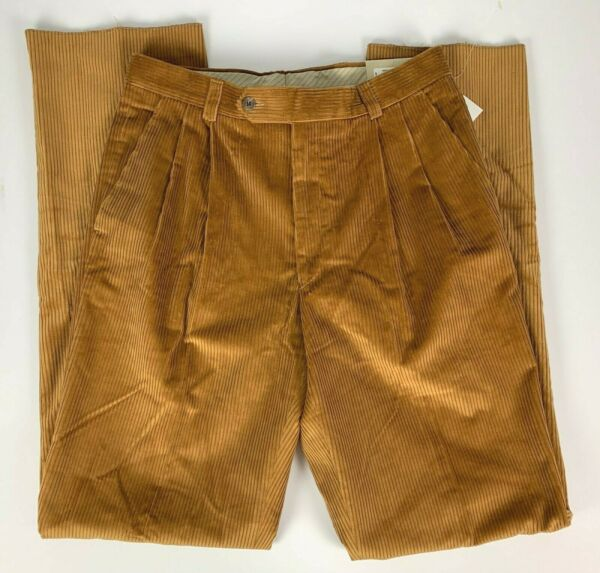 NWT Ballin Relax Manchester Pleated Corduroy Pants sz 33 Brown