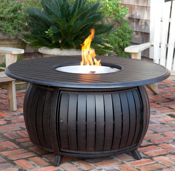 Large Round Fire Pit Table Patio Backyard Heater Deck Gas Fire Glass Copper New