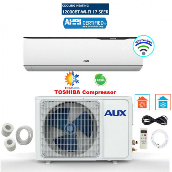 12000 BTU Mini Split Air conditioning Heat Pump w WiFi 12ft 17 SEER $549.99