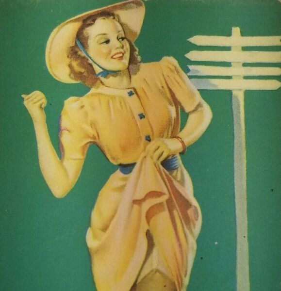 1940s PIN-UP art set of 3 illustrated mutoscope ARCADE cards