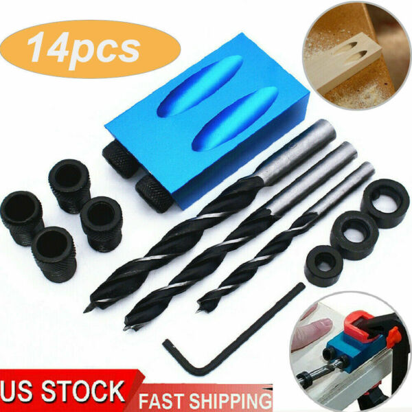 DIY Woodworking Pocket Hole Screw Jig Kit Adapter Drill Set Carpenter Wood Joint