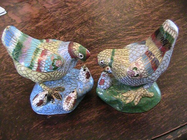 RARE - AntiqueVintage Pair of Cloisonne Hen With Chicks - 4 12