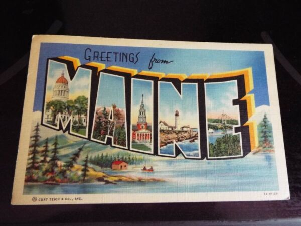 1941 Greetings from Maine Large Letter Scenes Vintage Postcard k
