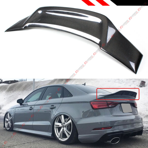 FOR 14-18 AUDI A3 S3 SEDAN HIGHKICK DUCKBILL RT STYLE CARBON FIBER TRUNK SPOILER