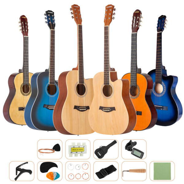 Beginner Acoustic Guitar Starter Musical Instrument Kit wCase Strap Tuner