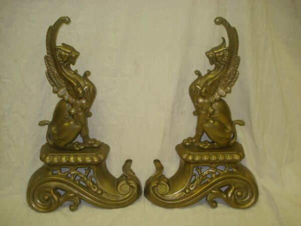 Vintage Antique Pair French Brass Griffin Andirons Fireplace Figures 16