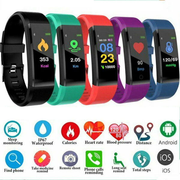 Men Women Sports Bluetooth Smart Watch Fitness Tracker Bracelet IP67 Waterproof