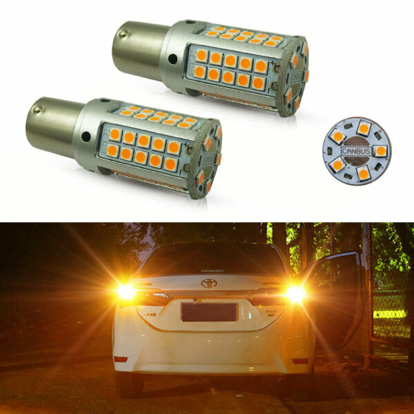 2x Amber 1156 180° CANbus No Hyper Flash Front Rear Turn Signal Light LED Bulbs