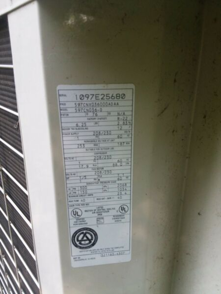 BRYANT Used Central Air Conditioner Condenser 116BNA042 A ACC 13062 $10000.00